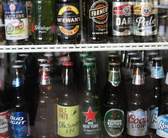drinks on shelf